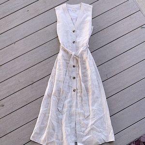 Whistles button down linen midi dress
